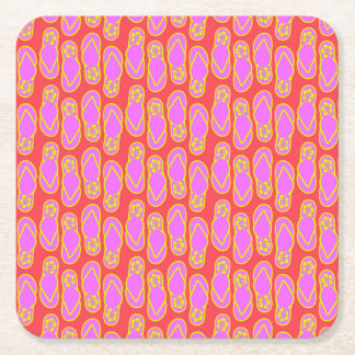 Flip Flops Hawaiian Style Square Paper Coaster