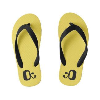 Flip-flops, kids yellow, summer shoes thongs