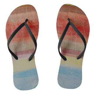 Flip flops, multicolored, black thongs