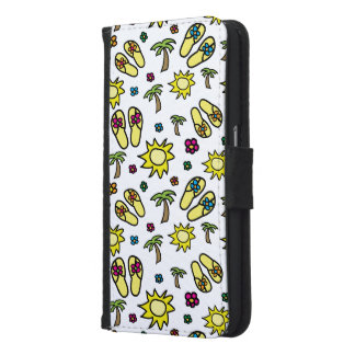 Flip Flops Palm Trees Flowers Phone Wallet Case