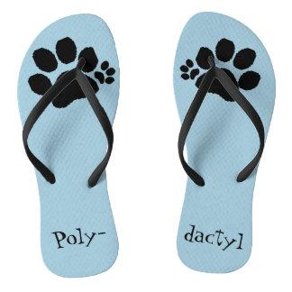 Flip Flops - Polydactyl Paw Prints Thongs