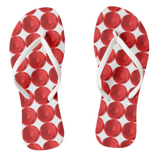 Flip flops red roses flowers pretty footware
