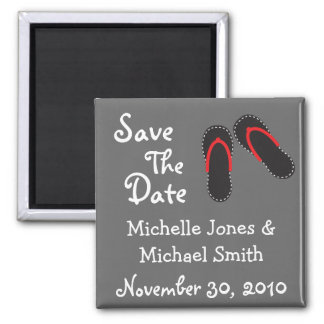 Flip Flops Save The Date Magnets (Black / Red)