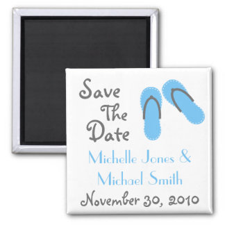 Flip Flops Save The Date Magnets (Blue / Gray)