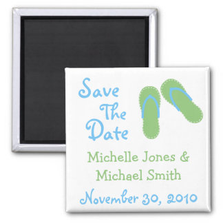 Flip Flops Save The Date Magnets (Green / Blue)