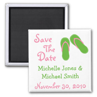 Flip Flops Save The Date Magnets (Green / Pink)