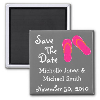 Flip Flops Save The Date Magnets (Hot Pink/Orange)