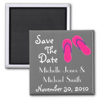 Flip Flops Save The Date Magnets (Magenta/Purple)