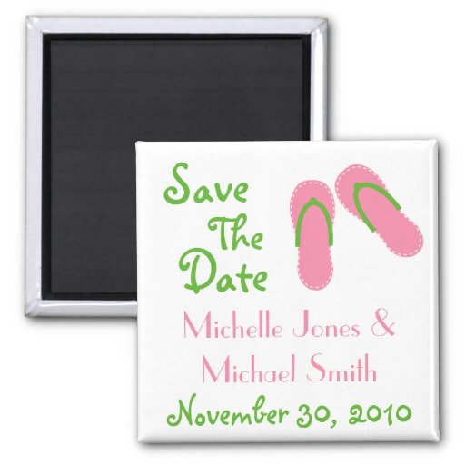 Flip Flops Save The Date Magnets (Pink / Green)