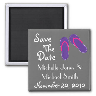 Flip Flops Save The Date Magnets (Purple/Magenta)