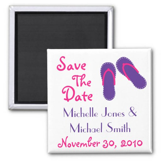 Flip Flops Save The Date Magnets (Purple/Magenta)