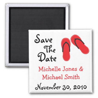 Flip Flops Save The Date Magnets (Red / Black)
