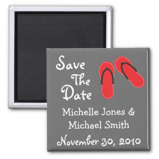 Flip Flops Save The Date Magnets (Red / Black)