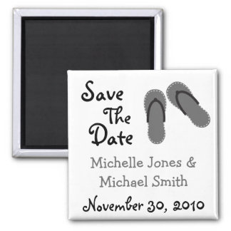 Flip Flops Save The Date Magnets (Silver / White)