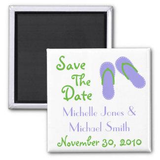 Flip Flops Save The Date Magnets (Violet / Green)