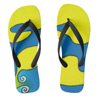 Flip Flops with Black Straps - Blue Escargots