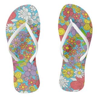 Flip Flops with Doodle Flowers