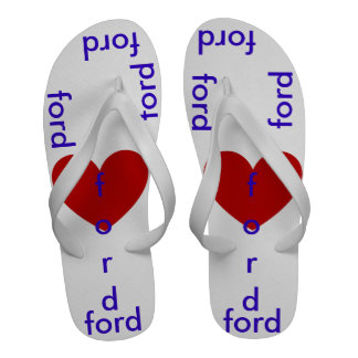 Flip flops with i love ford