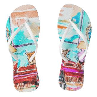 Flip flops with living room vignette