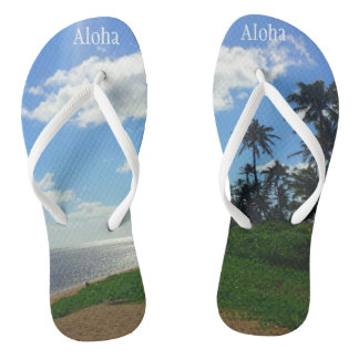 """Flip Flops with Picture of Hawaii+ & """"Aloha"""""""