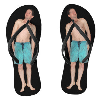 Flip Flops - With tiny guy - Black Foot Bed