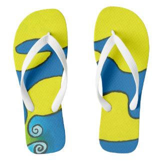 Flip Flops with White Straps - Blue Escargots