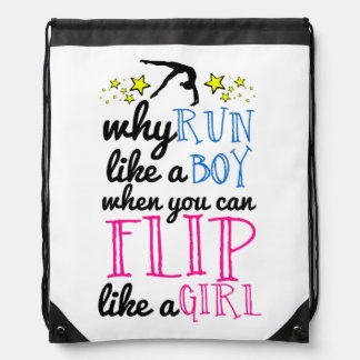 Flip Like a Girl Empowerment Gymnastics Drawstring Bag