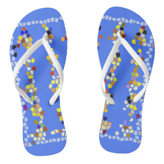 Flipflops women girls custom blue yellow multi