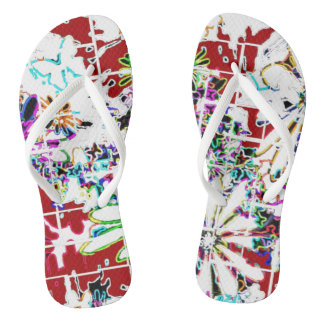 Flipflops women girls custom red white multi