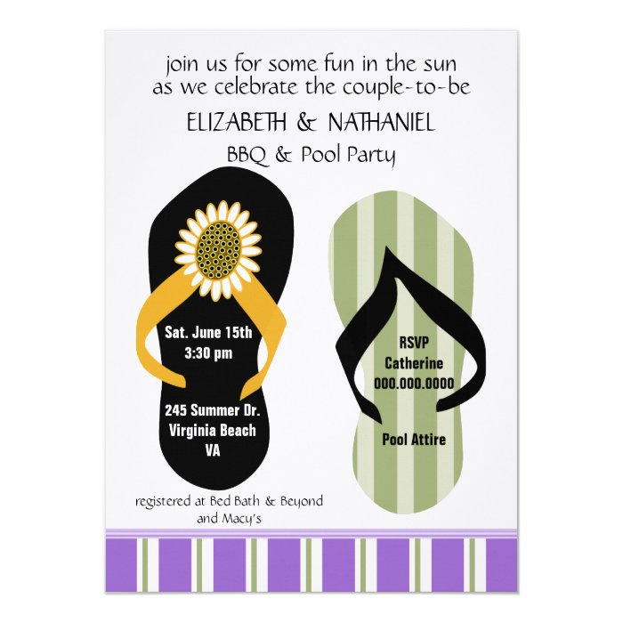 Flippin Out Couples Wedding Shower Pool Party 14 Cm X 19 Cm Invitation Card