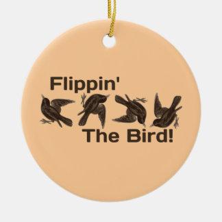 Flippin' The Bird Round Ceramic Decoration