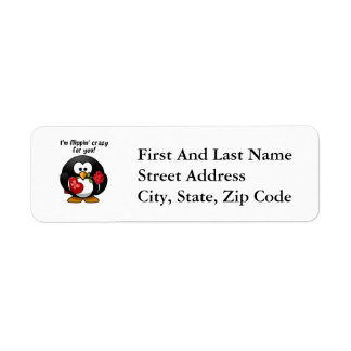 Flipping Crazy For You Valentine's Day Penguin Return Address Label