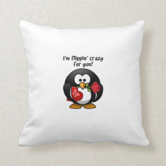 Flipping Crazy For You Valentine's Day Penguin Throw Cushions