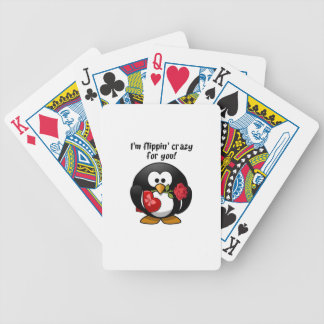 Flipping Crazy For You Valentine's Day Penguin Bicycle Playing Cards
