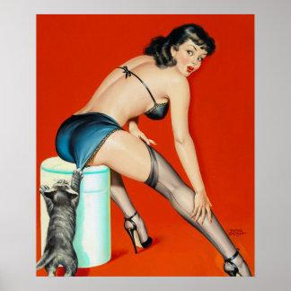 Flirt 1950 Pin Up Art Poster