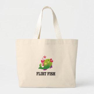 flirt fish yeah large tote bag