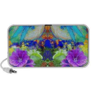 Flirting Dragonflies Purple Flowers by Sharles Speaker System