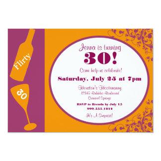 Flirty 30 Magenta and Tangerine Birthday Invites