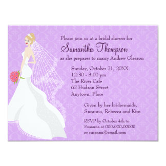 Flirty Blonde Lilac Bridal Shower Card