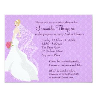 Flirty Blonde Lilac Bridal Shower 11 Cm X 14 Cm Invitation Card