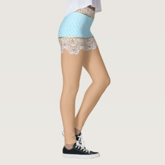 Flirty Blue Lace Skirt for Woman Leggings