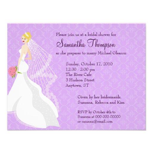 Flirty Lilac Bridal Shower Invitation