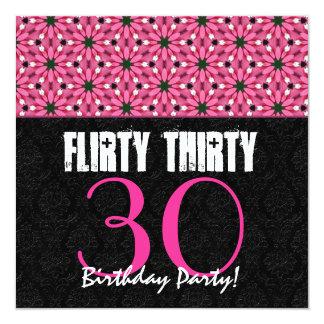 Flirty Thirty 30th Birthday Party Pink and Black 13 Cm X 13 Cm Square Invitation Card