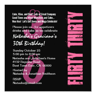 Flirty Thirty Birthday Black White PInk Template