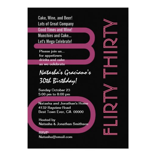 Flirty Thirty Birthday Black White Pink Template Personalized Announcements