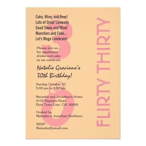 Flirty Thirty Birthday Cream and Pink Modern Announcements