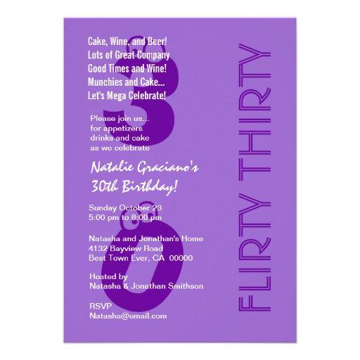 Flirty Thirty Birthday Purple Modern Custom Announcements