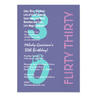 Flirty Thirty Purple Blue Pink Birthday Modern Card