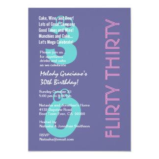 Flirty Thirty Purple Blue Pink Birthday Modern Invitations