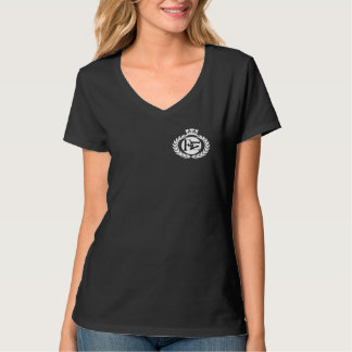 Flo Musique Logo Wht Women's V Neck T Tshirt